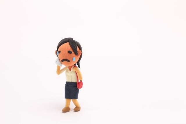 汗をかく女性_ねんどアート